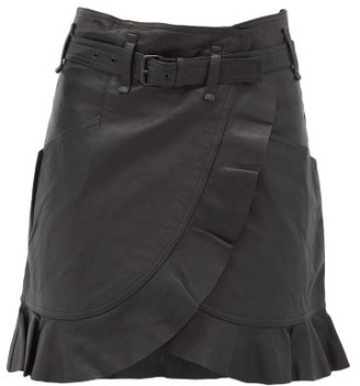 Etoile Isabel Marant Qing Ruffled Wrap-front Leather Mini Skirt - Womens - Black