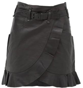 Etoile Isabel Marant Qing Ruffled Wrap-front Leather Mini Skirt - Black