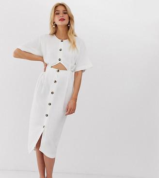 Asos Tall DESIGN Tall button through cut out midi dress-Cream