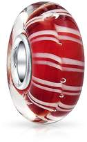 Bling Jewelry and white Candy Cane Stripped Murano glass Lampwork Charm Bead .925 Sterling Silver