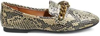 Kurt Geiger London Chelsea Embossed Snakeskin-Print Leather Loafers
