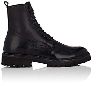 Barneys New York Men's Faux-Shearling-Lined Burnished Leather Boots - Black