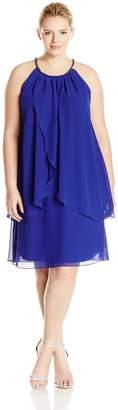 SL Fashions Women's Plus-Size Embellished Halter Neck Tier Dress