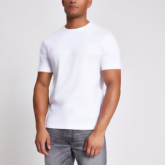 River Island White textured blocked slim fit T-shirt
