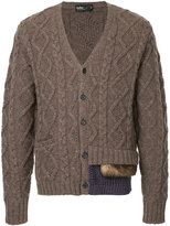 Kolor panel detailed cable knit cardigan