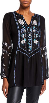 Tolani Lauren Silk Long-Sleeve Tunic with Embroidery