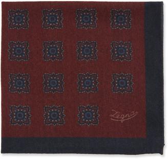 Ermenegildo Zegna Men's Reversible Wool Pocket Square, Burgundy