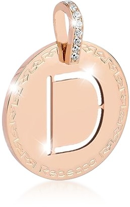 Rebecca Rose Gold-plated Bronze & Zirconia D Charm W/Rhodium-plated Necklace