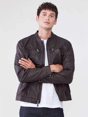 John Varvatos Band Collar Leather Jacket