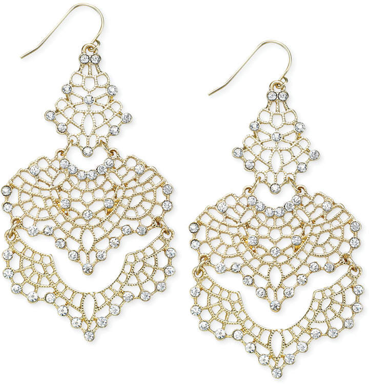 INC International Concepts Crystal Lace Chandelier Earrings