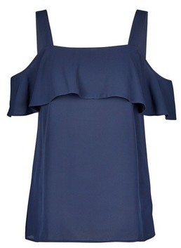 Dorothy Perkins Womens Navy Cold Shoulder Top