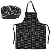 Opromo Cotton Canvas Adjustable Apron and Chef Hat Set for Men and Women-L