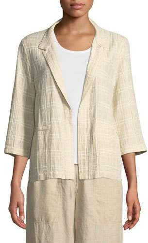 Eileen Fisher 3/4-Sleeve Division Jacquard Jacket, Plus Size