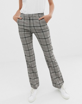 Asos Design DESIGN slim kick flare suit pants in check with burgundy-Multi