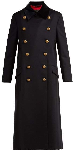 Burberry Double Breasted Wool Military Coat - Womens - Blue