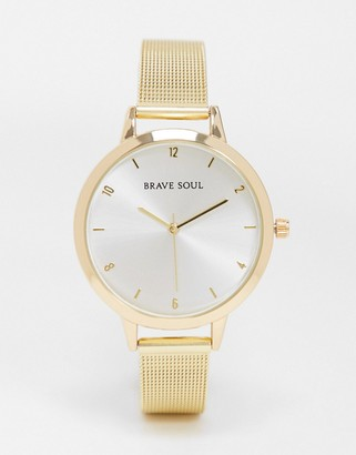 Brave Soul stainless steel mesh watch in gold tone