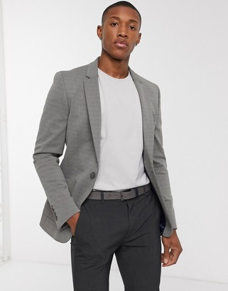 ASOS DESIGN super skinny pique jersey blazer in grey