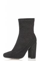 Quiz Black Textured Block Heel Ankle Boots