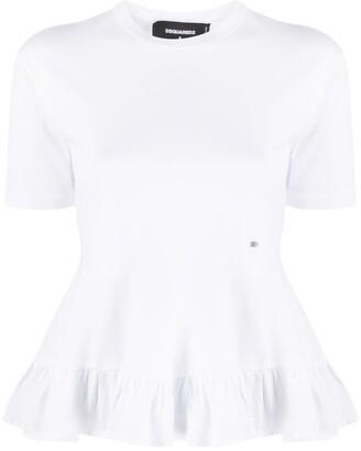 DSQUARED2 ruffled-hem cotton T-shirt
