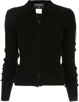 Zip-Front Ribbed Knit Jumper