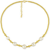 Majorica Gold-Tone Baroque Imitation Pearl Collar Necklace