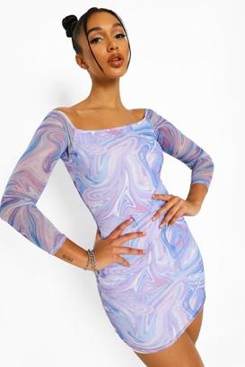 boohoo Marble Mesh Off Shoulder Mini Dress