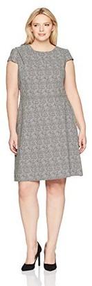 Adrianna Papell Women's Size Plus Drpd Neckline Sptd Jqd Ft N Fl
