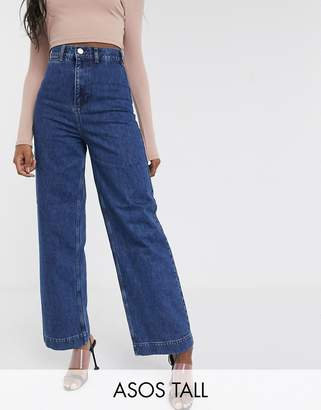 Asos Tall DESIGN Tall High rise 'easy' wide leg jeans in mid wash blue