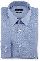 BOSS Jacquard Dot Slim-Fit Travel Dress Shirt, Blue
