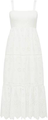 Forever New Loretta Petite Shirred Midi Dress - Porcelain - 10