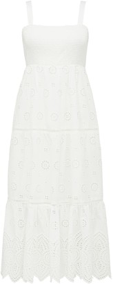 Forever New Loretta Petite Shirred Midi Dress - Porcelain - 12