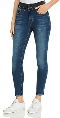 Frame Le High Skinny Color-Block Frayed-Waist Jeans in Jentri Lane - 100% Exclusive