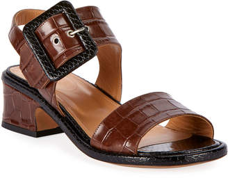 Dries Van Noten Shiny Crocodile-Print Buckle Sandals