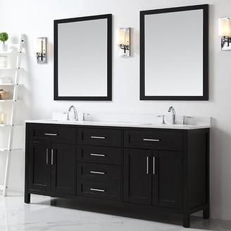 "Ove Decors Tahoe 73"" Double Bathroom Vanity Set with Mirror Ove Decors Base Finish: Espresso"