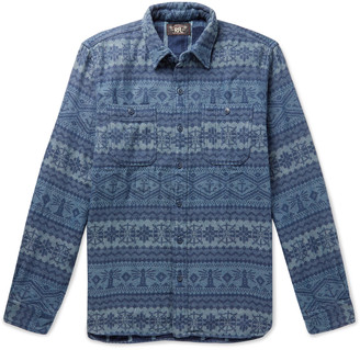 Ralph Lauren RRL Farrell Indigo-Dyed Fair Isle Cotton-Jacquard Overshirt