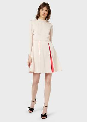 Emporio Armani Crepe Dress With Contrasting Pleats