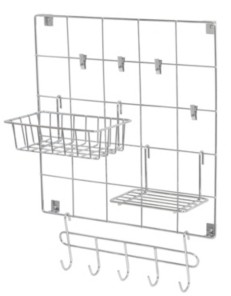 Honey-Can-Do 8-Piece Chrome Wire Wall Grid with Storage Accessories