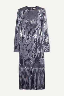Rebecca Vallance Matisse Fringed Sequined Crepe Midi Dress - Silver