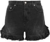 MSGM Ruffled Distressed Denim Shorts - Black