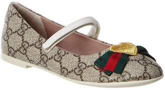 Gucci Gg Supreme Canvas & Leather Ballerina Flat