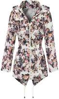 MyShoeStore Ladies Women Girls Rain Mac Raincoat Showerproof Cagoul Parka Hooded Big Jacket