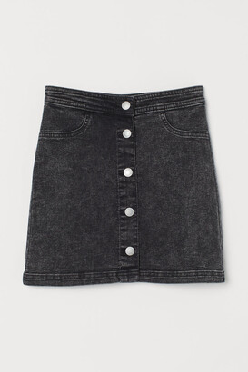 H&M Button-front Twill Skirt - Black