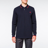 Paul Smith Men's Navy PS Logo Long-Sleeve Organic-Cotton Polo Shirt