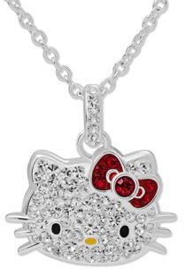 Hello Kitty Fine Silver-Tone Crystal Pendant with Chain