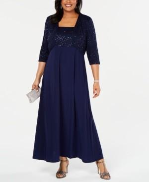 R & M Richards Plus Size Lace Poncho Gown