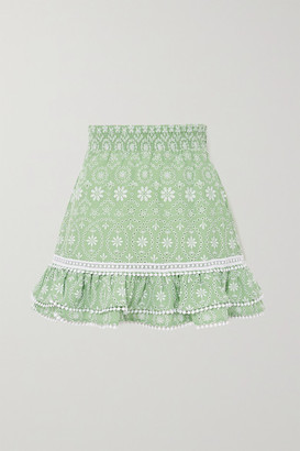 Charo Ruiz Ibiza Humy Crocheted Lace-trimmed Broderie Anglaise Cotton-blend Mini Skirt - Mint