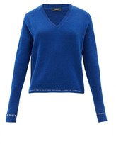Joseph Contrast-stripe Cashmere Sweater - Womens - Blue