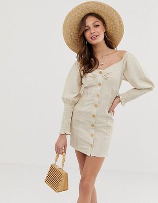 Asos Design DESIGN button through shirred linen mini dress