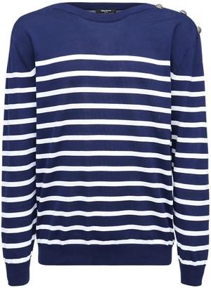Balmain Striped Cotton Knit Sweater W/ Buttons