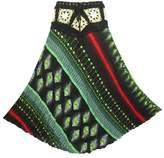 Coconutwoww Women's Crochet Waist Floral Print Crinkle Rayon Long Skirt